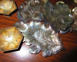 Sterling Silver Leaf Dishes and Salt Cellars