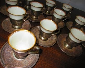 Sterling Demitasse Cups & Under-plates with Porcelain Liners