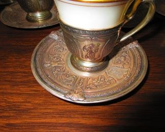 Detail of Sterling Demitasse Cups & Under-plates with Porcelain Liners