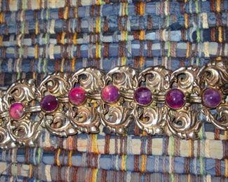 Taxco Sterling & Amethyst Bracelet