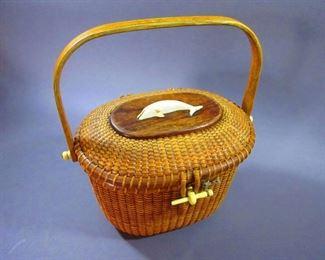 Stanley M. Roop Nantucket Lightship Basket Purse
