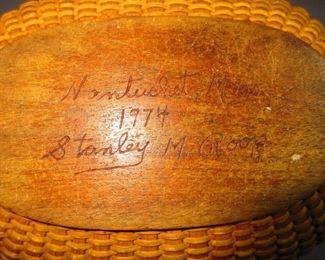 Signature on base of Stanley M. Roop Nantucket Lightship Basket Purse