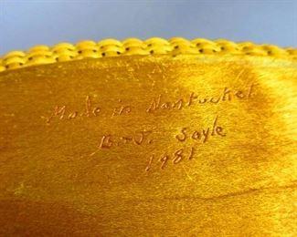 Signature on Bill & Judy Sayle Nantucket Basket Purse