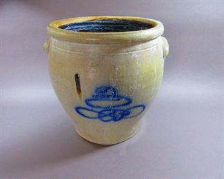 Antique Crock with Cobalt Decoration