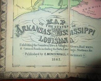 Detail of Civil War Era Map of Mississippi ca. 1866
