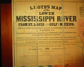 Detail of Civil War Era Map of Mississippi River ca. 1862. Lloyd's LG Map of the Lower Mississippi River from St. Louis to the Gulf of Mexico
