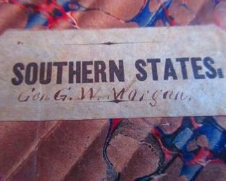 Detail of Box of Civil War Era Map of Southern States Belonging to General G.W. Morgan Ca. 1862. (Rail Road Map of the Southern States), P.S. Douval & Son