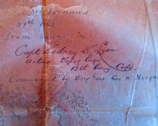 Detail of Battlefield Map Found Tucked in Civil War Era Map of Kentucky & Tennessee, Belonging to General G.W. Morgan (Ca. 1863). Hand Drawing on Parchment, with Details to Fortifications at Battle of Arkansas Post, as Commanded by General Morgan