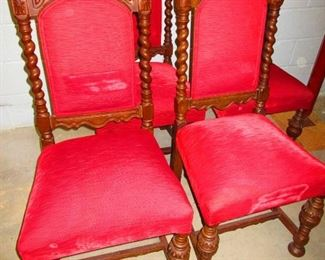 Group of Four Jacobean Style Sidechairs