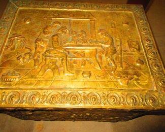 Detail of Brass Kindling Box