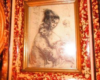 Hibel Print in Victorian Frame