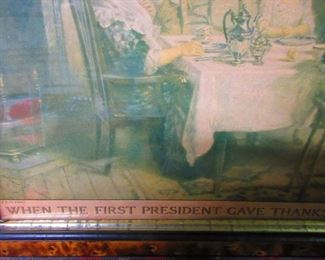"""Detail of Print """"When the first President Gave Thanks"""""""