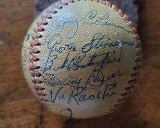 """Signatures of Jerry Coleman, George """"Snuffy"""" Stirnweiss, Bob Porterfield, Vic Raschi on 1950 Yankees World Series Team Signed Baseball"""