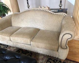 Thomasville Camelback Nailhead Trim 3 Cushion Sofa