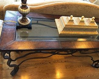 Glass Top Faux Leather Sofa Table