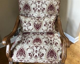 Carved Wood Arm Chair with cream burgundy upholstered in great condition!
