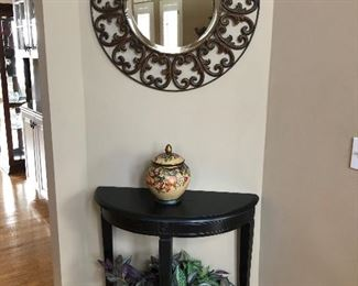 entry table and round mirror