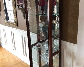 Pair of 5 shelf glass side loading curio cabinets