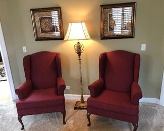 Pair of wingback chairs , floor lamp, matching wall art