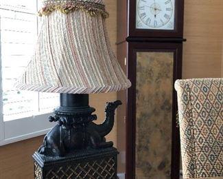 camel desk lamp, clock with storage