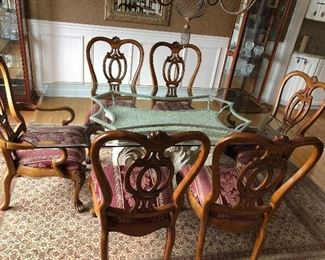 Glass top dining set , 6 chairs, unque base,  72w 42d 30h