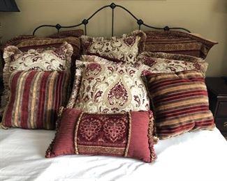 Burgundy Ivory decor pillows