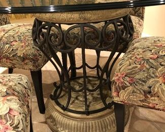 """round glass table with iron tuscony base with 4 sleigh back chairs 48"""""""