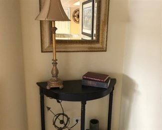 entry table and mirror, table lamp