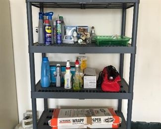 Storage Shelves and cleaners