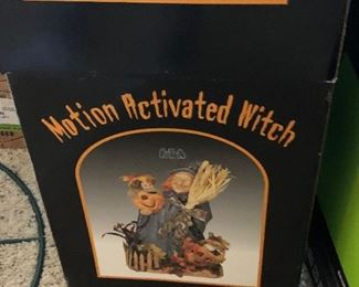 motion activated witch decor