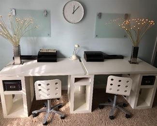 Pair of Children / Kids Desks with White Office Chairs, Pair of Lamps and office accesories