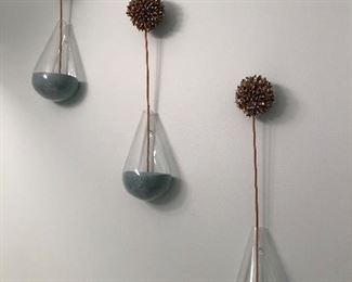 Set of Tear Drop hanging decor with teal sand