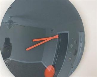 Mod Orange circle dome clock