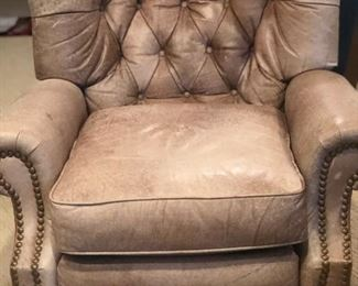 Full leather press back recliner by Barcalounger