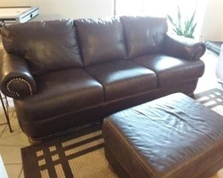 Leather sofa/chair and ottoman