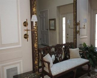 Dhurrie Rugs ~ Kilim Rugs ~ Custom Rugs Stunning Large Gold Accent ~ Mahogany Carved Bench For Three ~ Many Asian Accent Decor Separates