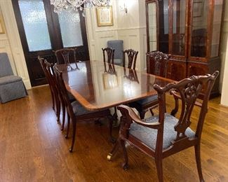 "Hekman ""Copley Place"" large mahogany dining room table & federal style China cabinet from Beverly Hall"