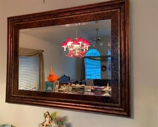 Framed beveled wall mirror