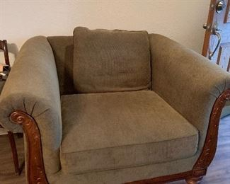 Upholstered side chair with wood trim