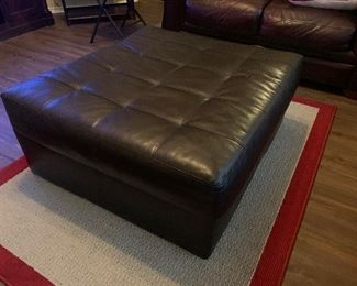 Large tufted leather ottoman coffee table