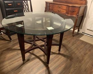 Wood and glass round contemporary dining table