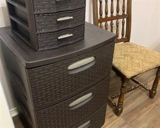 Wicker style file cabinet and organizer drawers