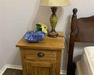 Pine nightstand, and table lamp