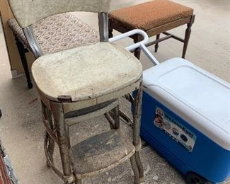 Vintage kitchen stepstool, plastic coolers