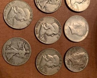 90% silver Franklin and Kennedy half dollars, and walking liberty half dollars