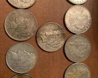 90% silver 1920s Morgan and Peace  dollars