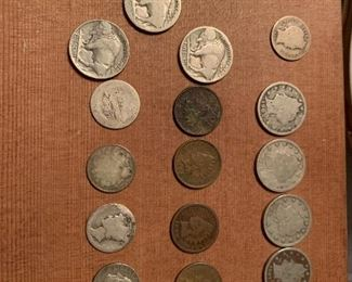 Indian head pennies, buffalo nickels, Barber quarters, barber dimes, silver dimes