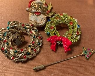 Vintage costume Christmas jewelry