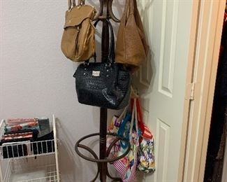 Hall tree coat rack, and handbags