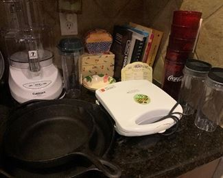 Cuisinart food processor, waffle maker, Lodge Cast iron skillets